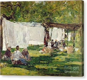 Laundry Canvas Print - The Laundry At Collise St. Simeon  by Eugene Louis Boudin