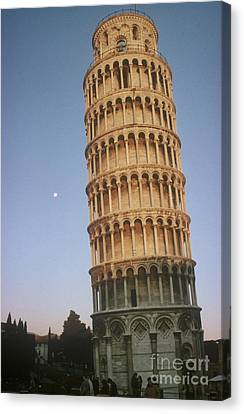 The Leaning Tower Of Pisa With Moon Canvas Print