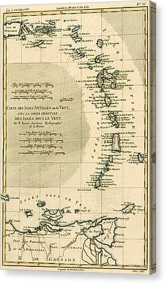 The Lesser Antilles Or The Windward Islands Canvas Print by Guillaume Raynal