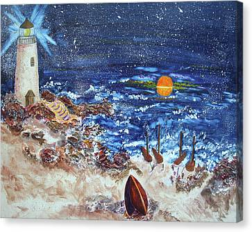 Canvas Print featuring the painting The Lighthouse by Joy Braverman