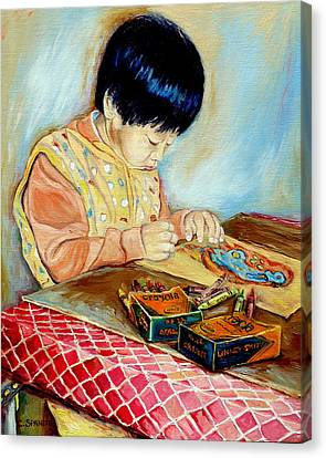 The Little Artist And His Crayola Crayons Canvas Print by Carole Spandau
