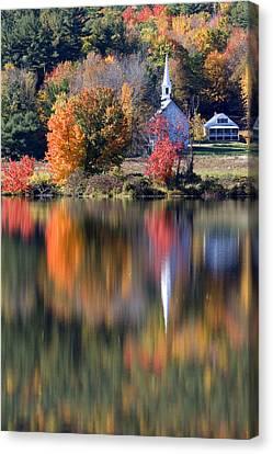 The Little White Church In Autumn Canvas Print