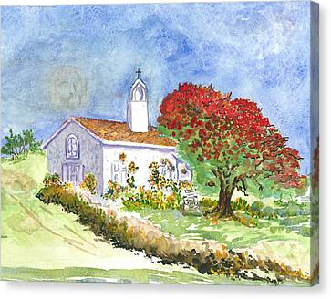 Canvas Print featuring the painting The Little White Church by Joy Braverman