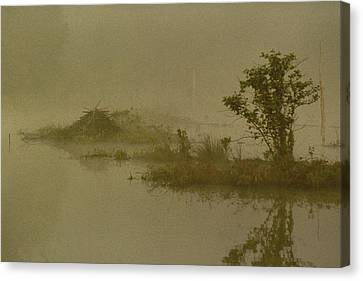 The Lodge In The Mist Canvas Print by Skip Willits