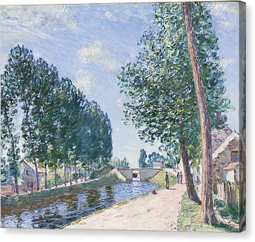 The Loing Canal At Moiret Canvas Print by Alfred Sisley