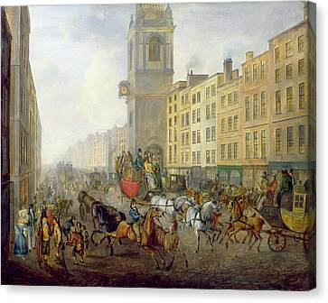 The London Bridge Coach At Cheapside Canvas Print by William de Long Turner