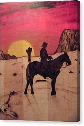 The Lone Cowboy Canvas Print by Andrew Siecienski