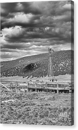 the lonly windmill in B and W Canvas Print