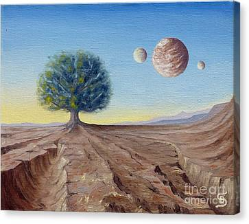 Canvas Print featuring the painting The Lorn Tree From Arboregal by Dumitru Sandru