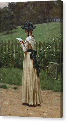 The Love Letter Canvas Print by Edmund Blair Leighton