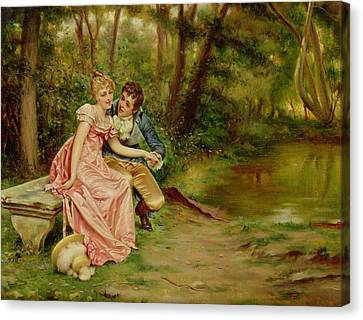 Ostrich Feathers Canvas Print - The Lovers by Joseph Frederick Charles Soulacroix