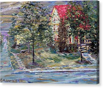 Canvas Print featuring the painting The Majestic Outing Club Lawn by Denny Morreale