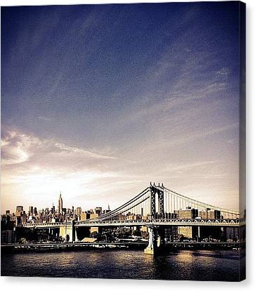 The Manhattan Bridge And New York City Skyline Canvas Print by Vivienne Gucwa