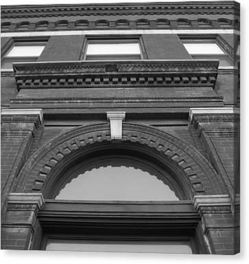 The Manley Popcorn Building Bw Canvas Print by Elizabeth Sullivan