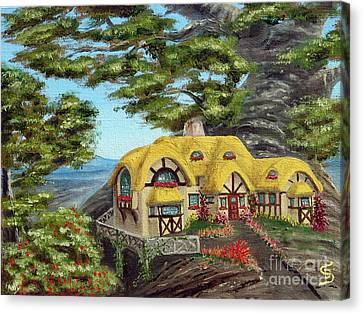 Canvas Print featuring the painting The Manor Cottage From Arboregal by Dumitru Sandru
