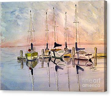 Canvas Print featuring the painting The Marina by Eva Ason