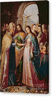 The Marriage Of Mary And Joseph Canvas Print by Mexican School