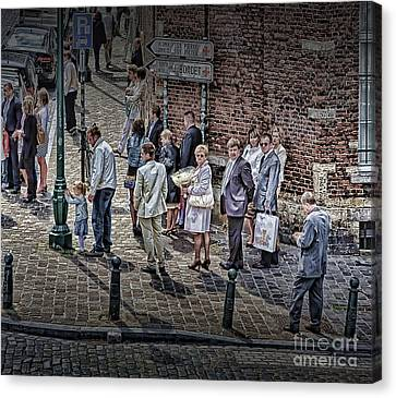 Canvas Print featuring the photograph The Mass-goers Brussels by Jack Torcello