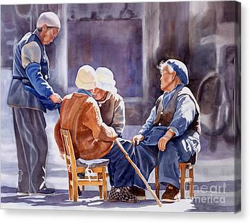 Chinese Peasant Canvas Print - The Meeting Place by Sharon Freeman