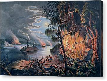 Warship Canvas Print - The Mississippi In Time Of War by Frances Flora Bond Palmer