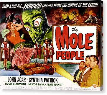 Horror Fantasy Movies Canvas Print - The Mole People, Girl On Upper Left by Everett