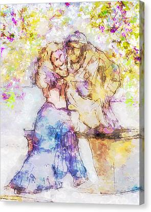 The Monk And The Maiden Canvas Print by Jill Balsam