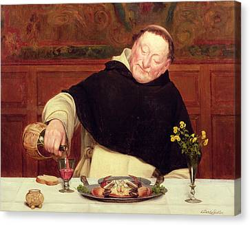 Pouring Wine Canvas Print - The Monk's Repast by Walter Dendy Sadler