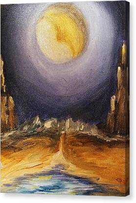 the Moon Canvas Print by Karen  Ferrand Carroll