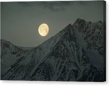 The Moon Sets Over Basin Mountain Canvas Print