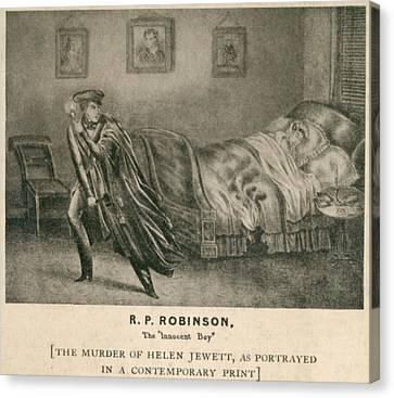 The Murder Of Helen Jewett In 1836 Canvas Print by Everett