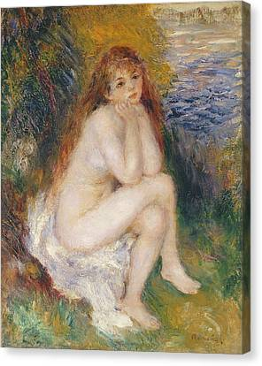 Chin On Hand Canvas Print - The Naiad by Pierre Auguste Renoir