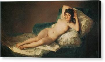 The Naked Maja Canvas Print by Francisco Goya