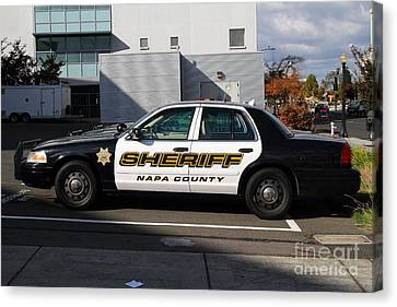 The Napa County Sheriff Car In Napa California Wine Country Canvas Print by Wingsdomain Art and Photography