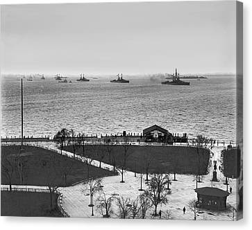 1916 Canvas Print - The Navy Fleet In New York Bay by Underwood Archives