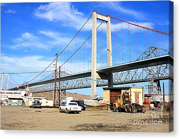 Benicia Canvas Print - The New Alfred Zampa Memorial Bridge And The Old Carquinez Bridge by Wingsdomain Art and Photography