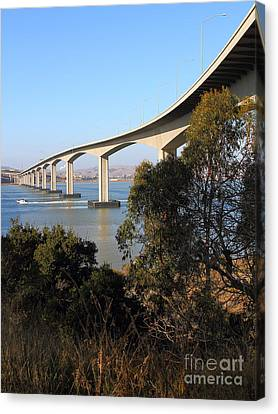 The New Benicia-martinez Bridge Across The Carquinez Strait In California . 7d10437 Canvas Print by Wingsdomain Art and Photography