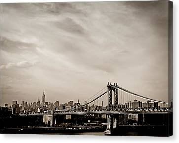 The New York City Skyline And The Manhattan Bridge Canvas Print by Vivienne Gucwa