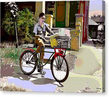 The Newspaper Boy Canvas Print by Charles Shoup