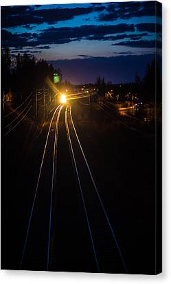 Canvas Print featuring the photograph The Night Train by Matti Ollikainen