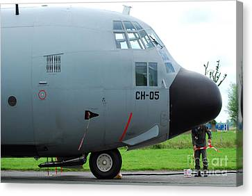 The Nose Of A Hercules C-130 Airplane Canvas Print by Luc De Jaeger