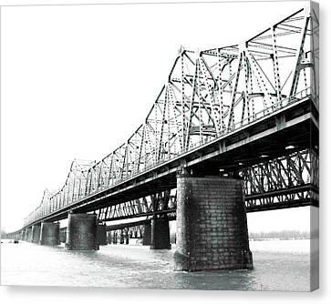 Canvas Print featuring the photograph The Old Bridges At Memphis by Lizi Beard-Ward