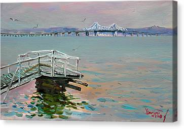 The Old Deck And Tappan Zee Bridge Canvas Print by Ylli Haruni