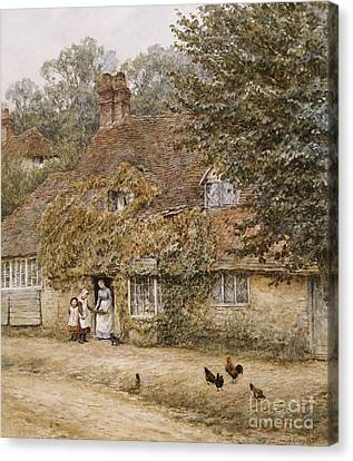 The Old Fish Shop Haslemere Canvas Print by Helen Allingham