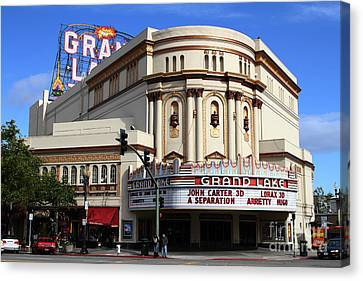 Canvas Print featuring the photograph The Old Grand Lake Theatre . Oakland California . 7d13474 by Wingsdomain Art and Photography