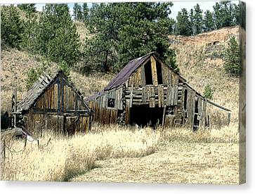 Old Barns Canvas Print - The Old Homestead by James Steele