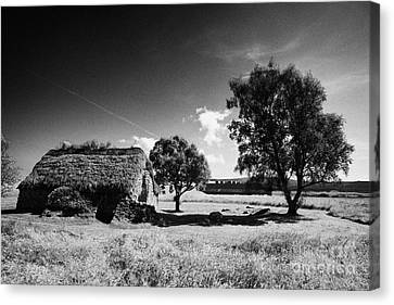 the old leanach cottage on Culloden moor battlefield site highlands scotland Canvas Print