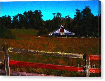 The Old Ranch At Dusk . Painterly Style Canvas Print by Wingsdomain Art and Photography