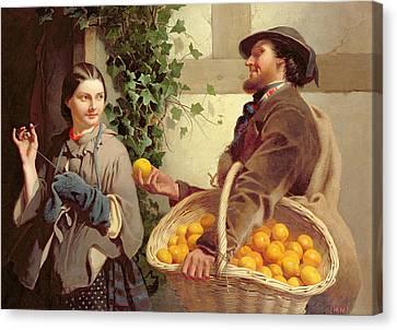 The Orange Seller  Canvas Print by William Edward Millner