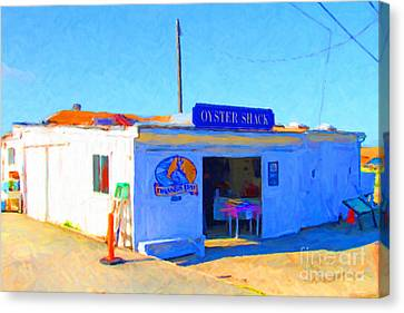 The Oyster Shack At Drakes Bay Oyster Company In Point Reyes . 7d9833 Canvas Print by Wingsdomain Art and Photography