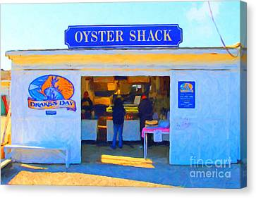 The Oyster Shack At Drakes Bay Oyster Company In Point Reyes . 7d9835 . Painterly Canvas Print by Wingsdomain Art and Photography